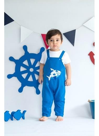 Nila Kids Shark in Blue Organik Erkek Bebek Uzun Tulum Mavi